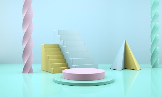 Студия с геометрическими формами, подиум на полу, площадки для презентации продукции