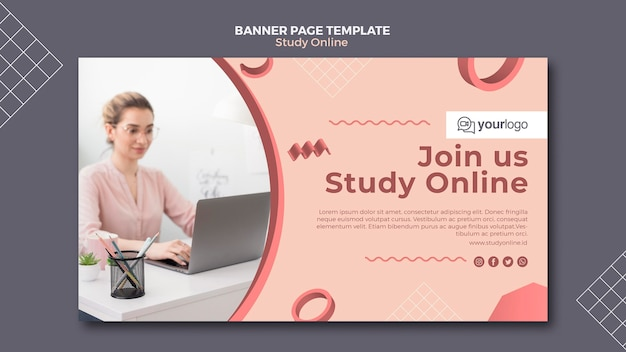Study online banner template