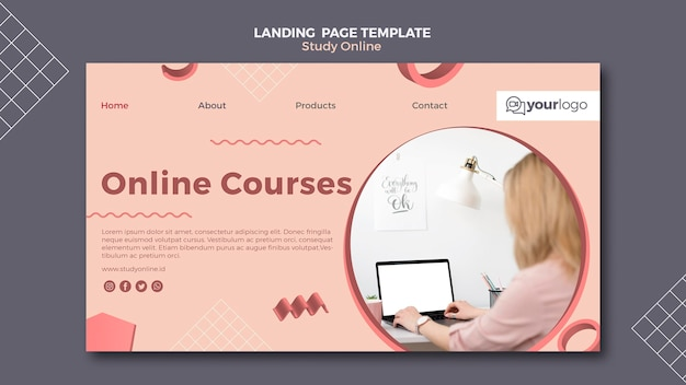 Study online landing page template