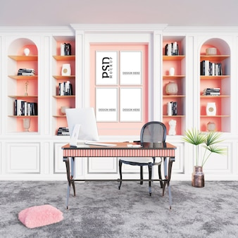 Study space with carpeted floors and picture frames