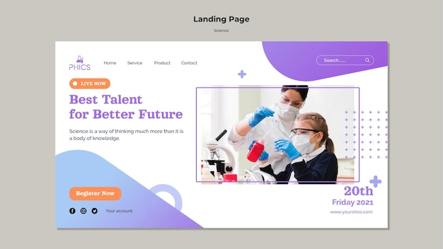 Studying science concept landing page