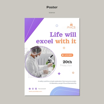 Studying science concept poster template