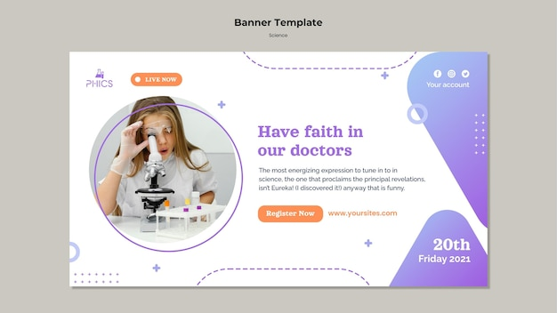 Studying science horizontal banner template
