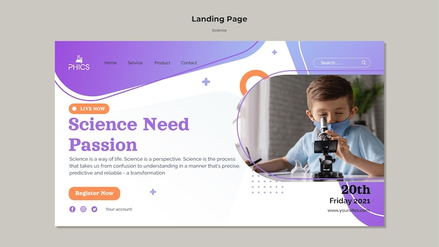 Studying science landing page template