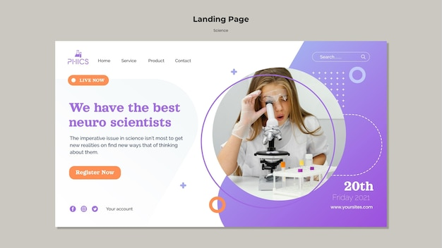 Studying science landing page