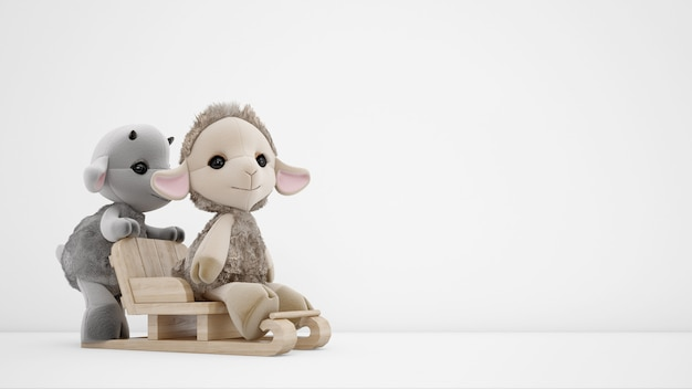 Stuffed animals toys over white wall with copyspace