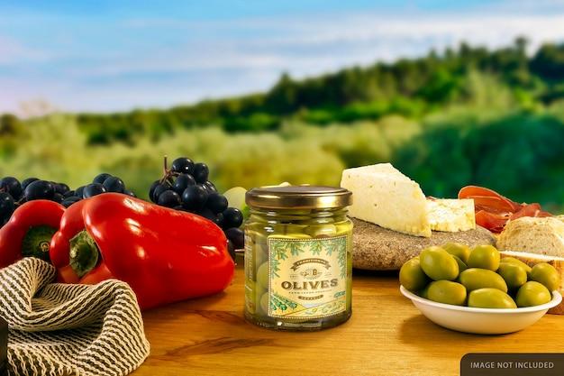 Stuffed olives jar mockup
