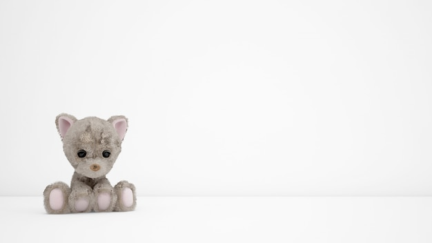 Stuffed puppies on white room with copyspace