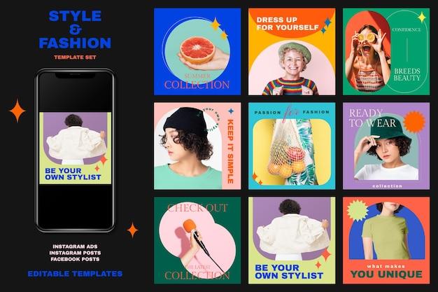 Stile e modello di moda set psd per annunci sui social media