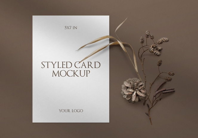 Styled card with shadow mockup