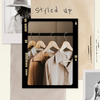 Styled up collage template psd fashion social media post in earth tone