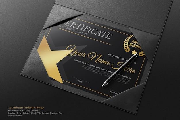 Стильный пейзаж формата а4, академический сертификат, реалистичный макет с кожаным чехлом в твердом переплете