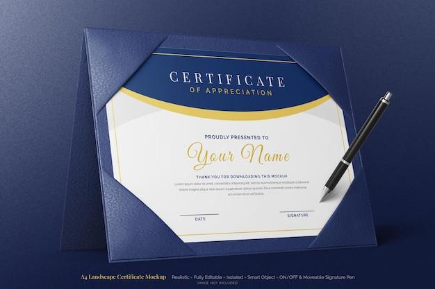 Стильный пейзажный диплом с сертификатом формата а4, редактируемый макет с стоящим двойным кожаным футляром
