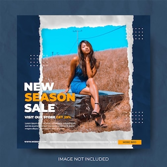 Stylish blue torn paper fashion instagram post feed template