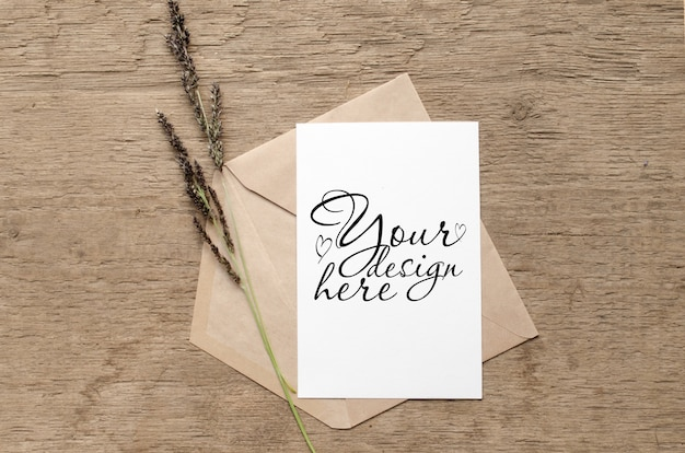 Stylish card mockup with herbs