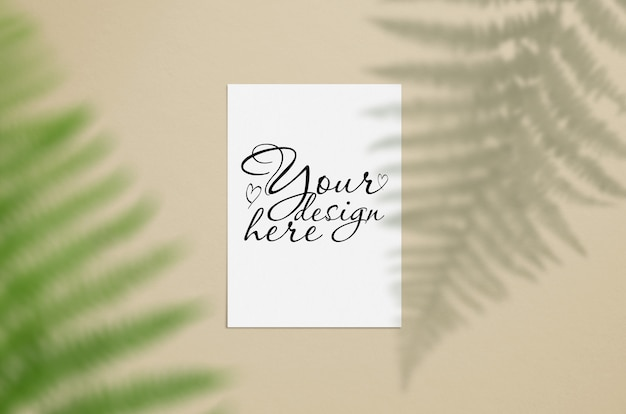 Stylish card mockup with leaves