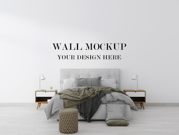 Stylish contemporary bed room wall mockup 3d rendering