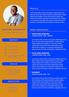 Stylish editable cv template downloadable psd resume for professionals and entry level positions