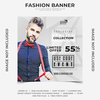 Stylish fashion event discounts instagram banner