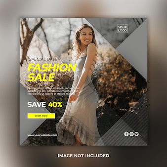 Stylish fashion sale social media banner or instagram post template