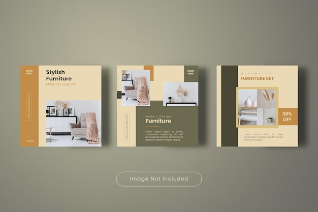 Stylish furniture instagram post banner template collection