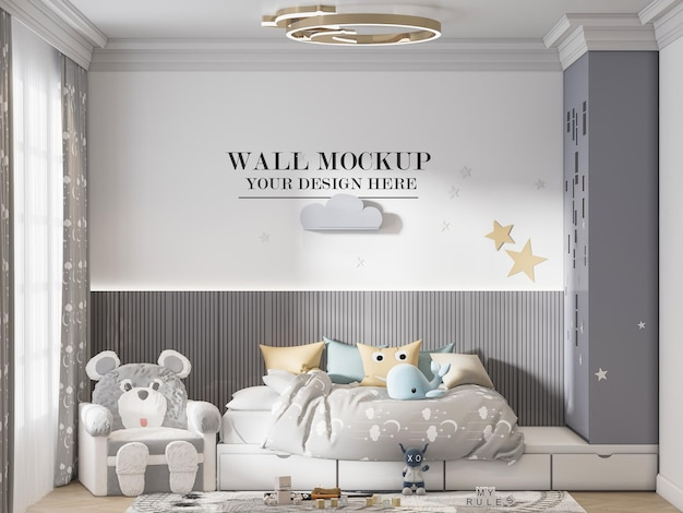 Stylish kids room wall template for your textures