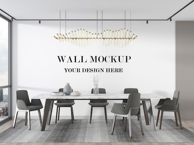 Stylish luxury dining room blank wall 3d rendering mockup