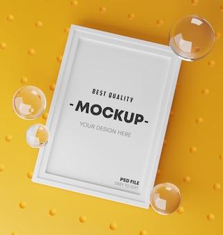 Modello di cornice poster mock up elegante. rendering 3d fresco e minimalista. sfondo giallo