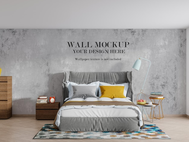 Stylish modern bedroom wall mockup design