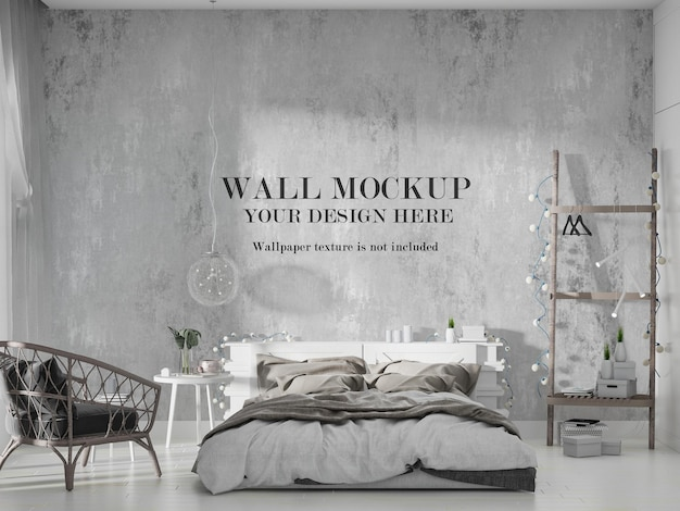 Stylish modern bedroom wall mockup