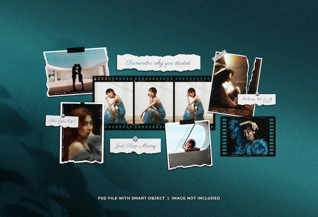 Stylish moodboard collage mockup with shadow overlay