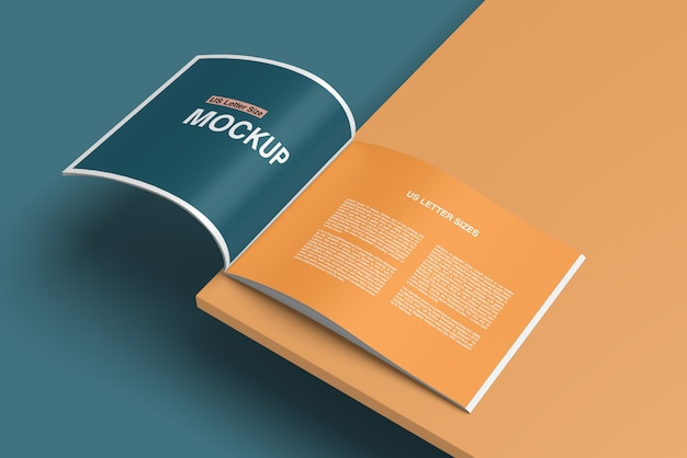 Stylish opened book or magazine mockup