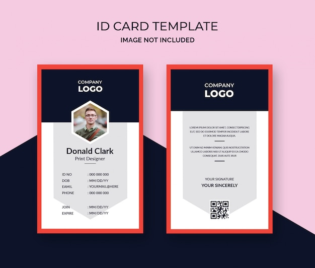 Stylish red id card design template