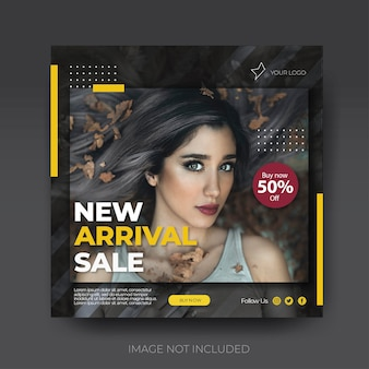 Stylish square fashion instagram social media collection post feed template