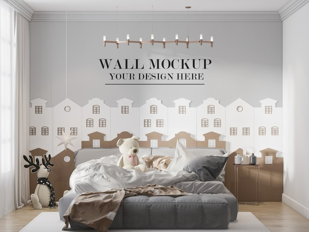 スタイリッシュなティーンエイジャーの部屋の壁のモックアップ