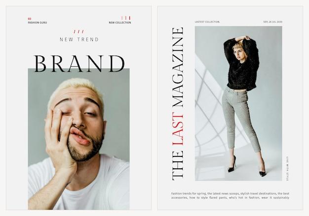Modelli alla moda poster psd di moda per la bellezza e lo stile di vita