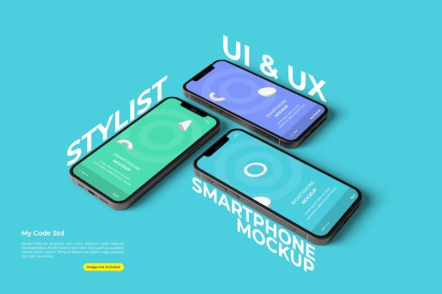 Stylish ui and ux smartphone mockup design isolated