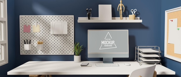 Stylish working space with computer office supplies and decorations