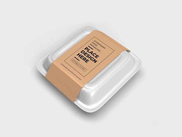 Styrofoam food box packaging mockup design isolated