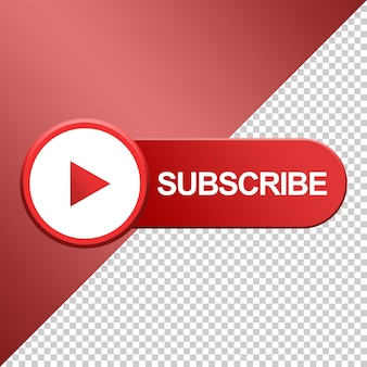 Subscribe button with play icon design 3d
