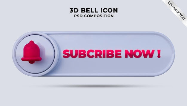 Subscribe now button with youtube notification bell