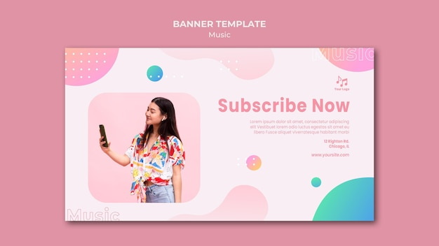 Subscribe now music banner web template