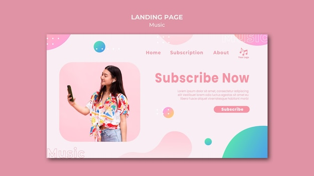 Subscribe now music landing page template
