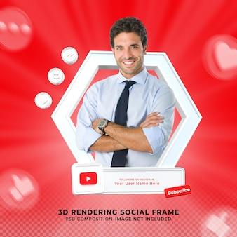 Youtubeソーシャルメディアで購読してくださいローワーサード3dデザインレンダリングアイコンバッジフレーム付き