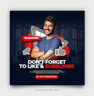 Subscribe youtube instagram social media template
