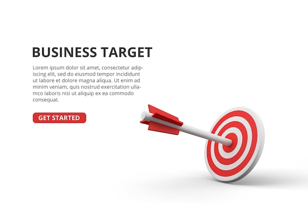 Successful archery arrow on 3d target board business goal achievement concept