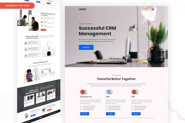 Страница успешного веб-сайта управления crm