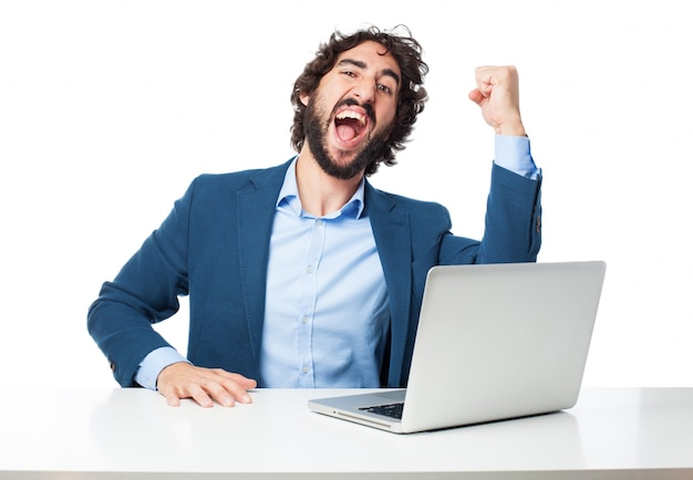 Successful worker with his fist up
