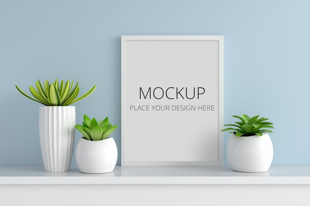 Succulent pot plant with frame mockup
