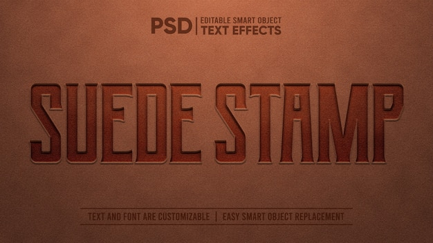 Suede embossed stamp editable text effect